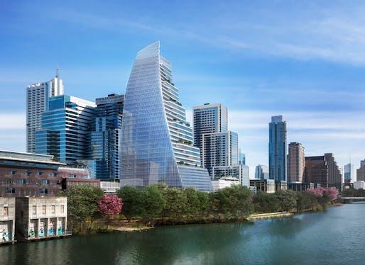 Towers like Pelli Clarke Pelli's Block 185 tower are reshaping Austin's skyline. Image courtesy of Pelli Clarke Pelli Architects / STG Design / Trammell Crow Company.
