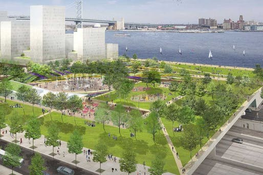 Philadelphia's waterfront park is progressing along. Image courtesy of Hargreaves Associates.