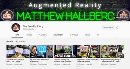 Matthew Hallberg YouTube Channel featuring Augmented Reality Demos