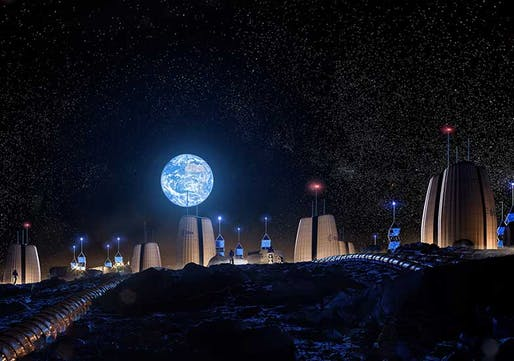 Rendering of Moon Village shows Earth rising over the village. Image © SOM | Slashcube GmbH