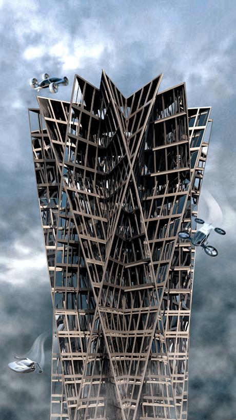 Future Mega City Skyscraper