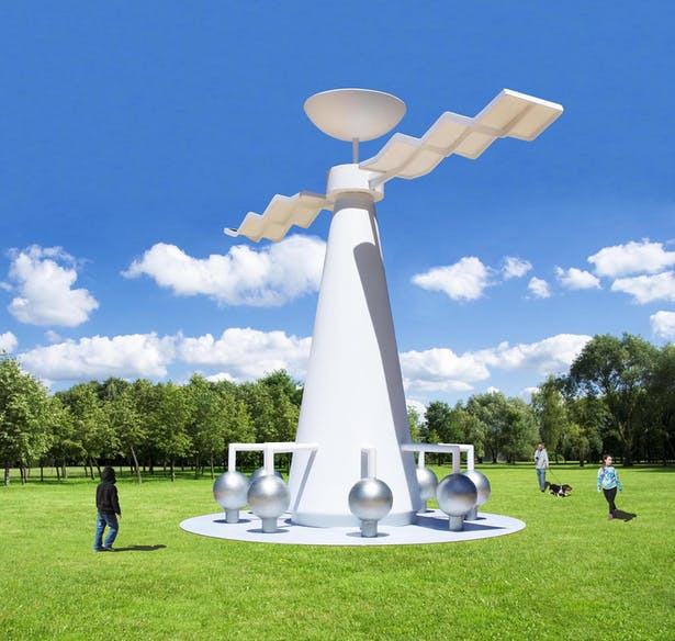 The Sun Tower that makes electricity from the sun and stores it in batteries for the local community. It also collects rainwater and stores it.