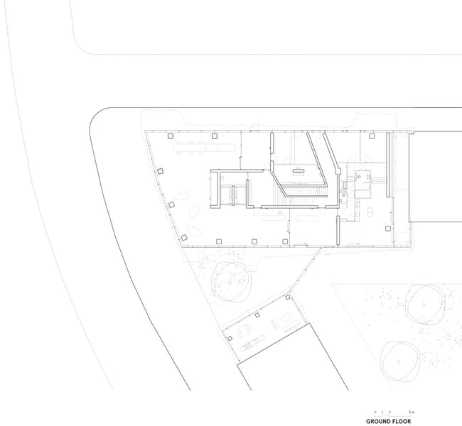 E' Tower Ground floor plan. Image: Wiel Arets Architects