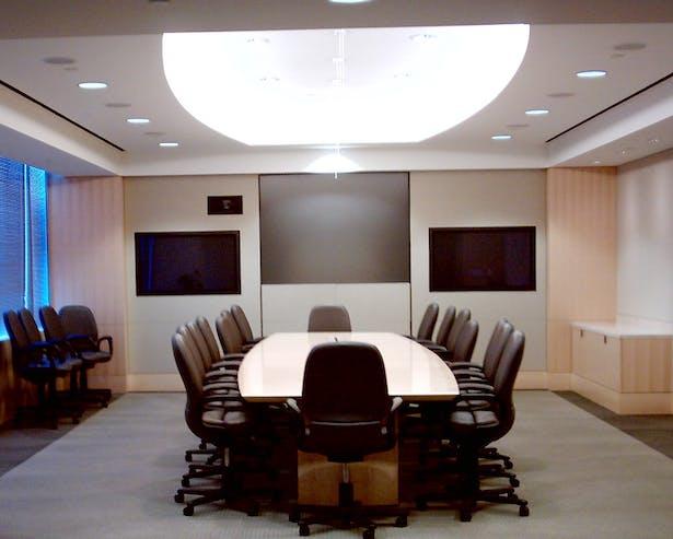 Executive Boardroom with custom wood paneling