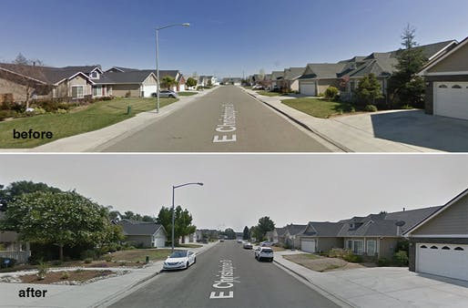 The same stretch of a residential street in northeast Fresno, shown in 2009 (top) and 2017. (Google Maps). Courtesy of City Lab