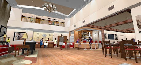Interior Lobby for Comfort Suites at Dallas Executive Airport (SketchUp)