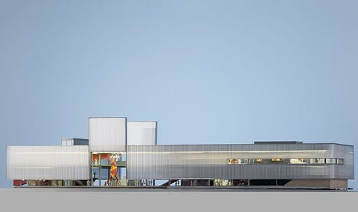 A Rem Koolhaas rendering of the Garage Museum's new, permanent building, set to open in June 2015. Image: OMA/Rem Koolhaas; via blouinartinfo.com