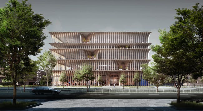 Spatial Practice's third-prize proposal for the new Library of Varna competition. Image courtesy of spatial practice.