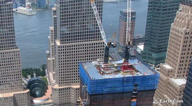 Screen shot of EarthCam's new One World Trade Center construction time-lapse video.