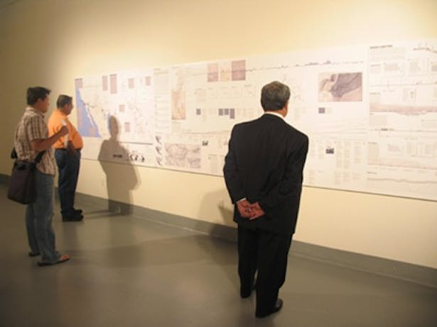 Info-graphic wall at Installation; image via Rubin Center for the Visual Arts, UTEP