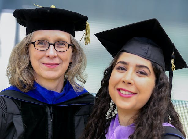 Ute Poerschke (left), who has been an integral part of expanding the architecture graduate program at Penn State, is the recipient of this year's Northeastern Association of Graduate Schools Graduate Faculty Teaching Award at the Master's Level. She is pictured with Yasaman Roostaeian, who graduated with her master of science in architecture in 2018.
