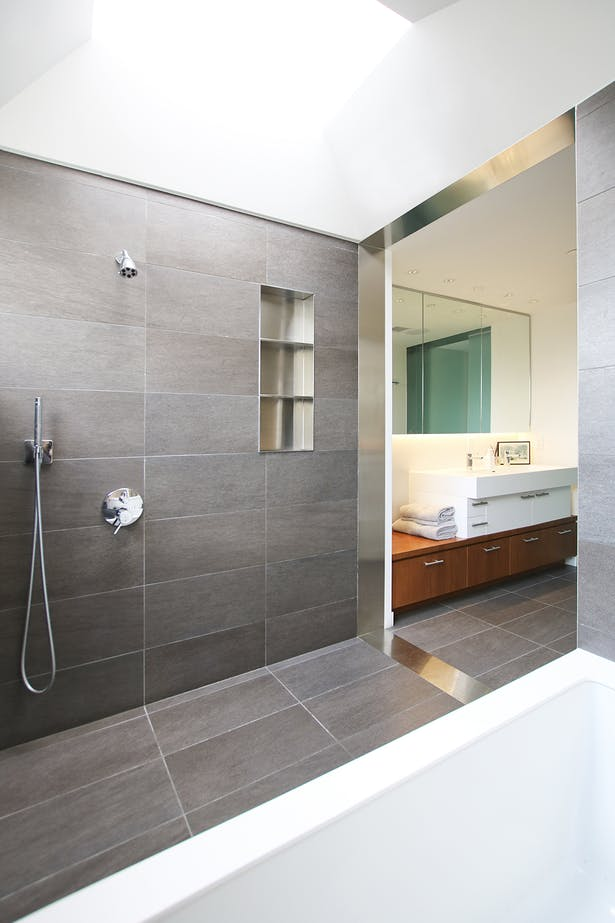 Master Bath Wet Room with Sculptural Ceiling and Skylight