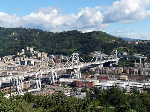 "View of the 1960s-era bridge that collapsed in 2018. Image courtesy of <a href=""https://commons.m.wikimedia.org/wiki/File:Genova-panorama_dal_santuario_di_ns_incoronata3.jpg#mw-jump-to-license"">Wikimedia User Davide Papalini</a>"
