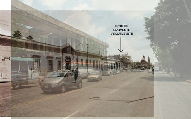 An overlay of the 1961 with a 2013 photo shows former and current structures around the project site. Photo courtesy of CoArq
