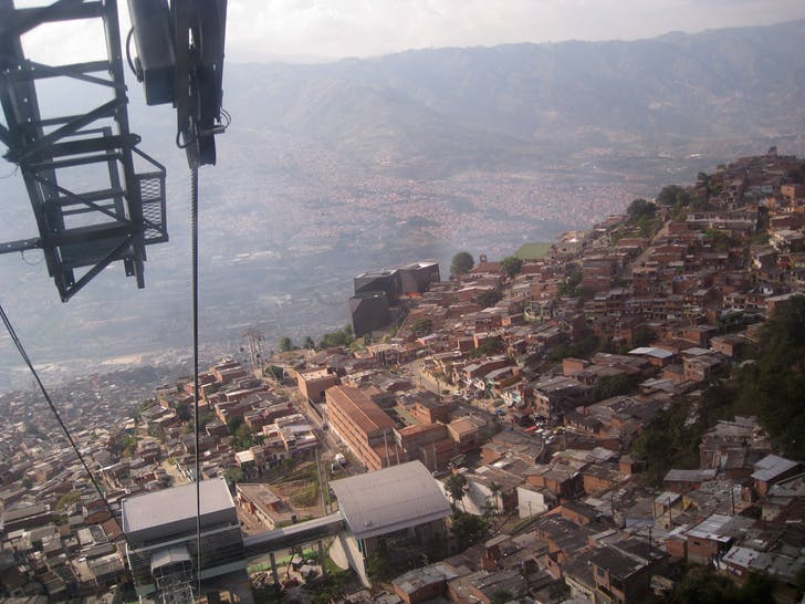 on the Metro Cable (cable car system), Santo Domingo Savio, Medellín (Colombia)