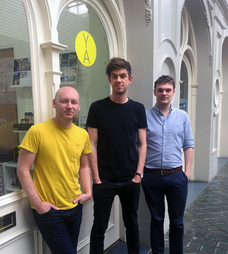 Founders Simon Graham and Jonathan Duffett with new recruit Tom outside their office.