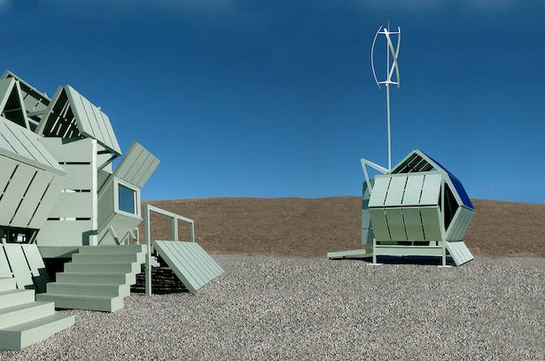 Stand alone pod that collects rainwater and makes electricity from the sun and from the wind for the M-house.