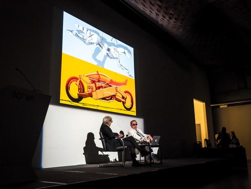Syd Mead in conversation with Craig Hodgetts at the Southern California Institute of Architecture. Image courtesy of the Southern California Institute of Architecture.