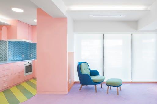 Interior of apartment, designed by Adam Nathaniel Furman. Photo by Jan Vranovsky.