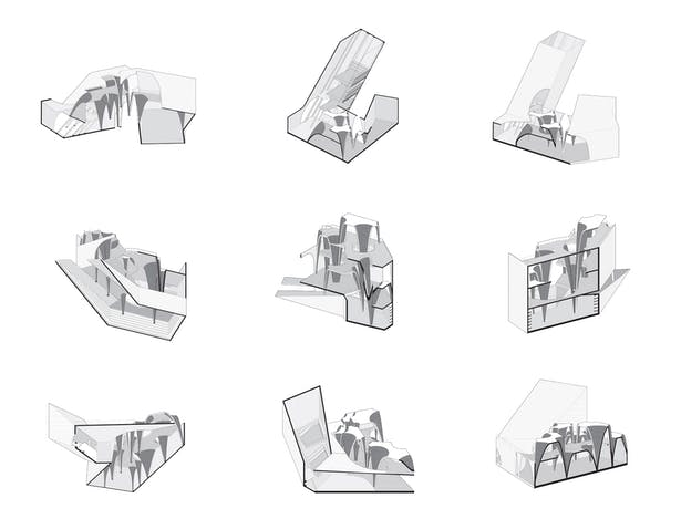 Spatial Fragments - This drawing represents different spatial fragments due to corner deformation, which offer various levels of interactions.