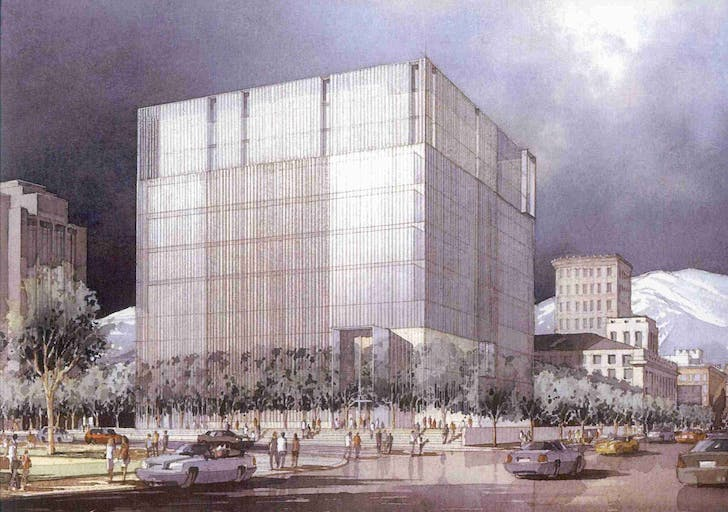 Rendering of the design by Thomas Phifer & Partners with Naylor Wentworth Lund Architects (1996). Image via utahheritagefoundation.org.
