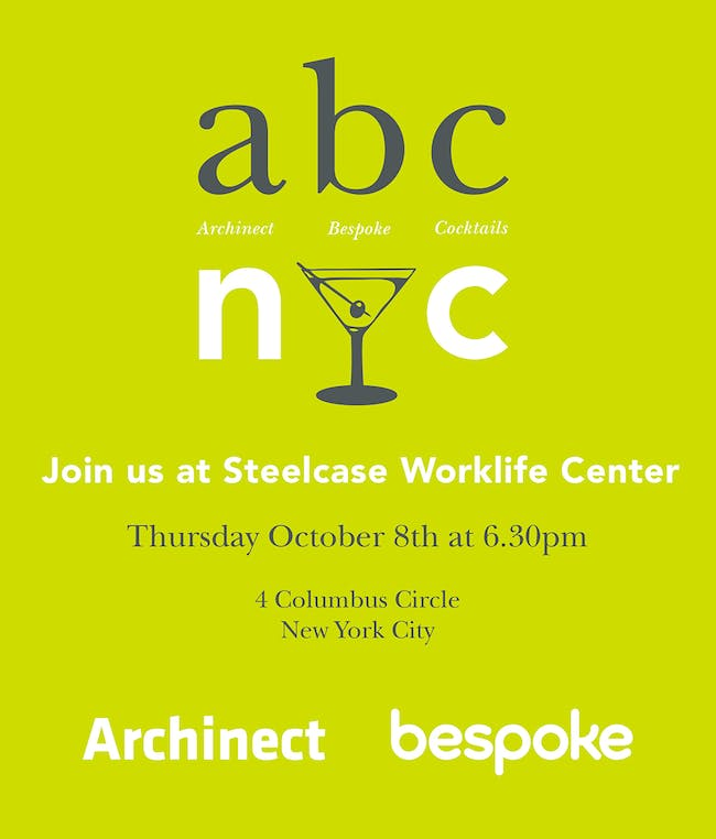 Come out for abc/nyc and celebrate Architecture and Archtober with Archinect and Bespoke!