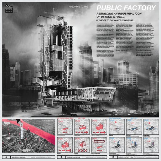 Category II - 1st Place: The Public Factory: Rebuilding an industrial-icon of Detroit's past in order to galvanize its future. Student: Kevin Herhusky. Faculty Sponsor: Margarida Yin | California Polytechnic State University