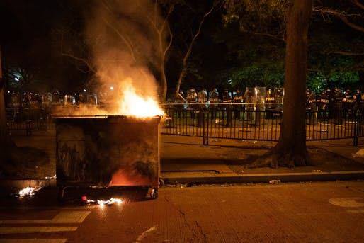 "Built environment organizations respond to nationwide Black Lives Matter protests. Image credit and courtesy of Wikimedia user<a href=""https://commons.wikimedia.org/wiki/File:Burning_dumpster_at_George_Floyd_protests_in_Washington_DC,_Lafayette_Square.jpg""> Rosa Pineda.</a>"