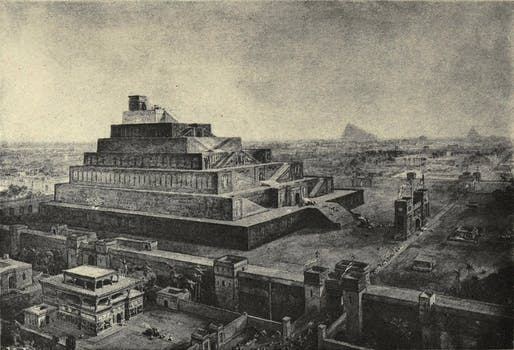 A 1917 illustration of Babylon and the temple of Bel by William Simpson, published in Horne, C. F.'s The sacred books and early literature of the East