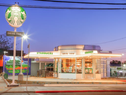 Starbucks (originally Gilmore Gas Station) restored by Valerio Inc., located in Hollywood, CA. Image: Douglas Olson.