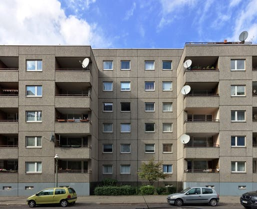 One of Berlin's Communist-era Plattenbau prefab apartment complexes. Image courtesy of Wikimedia user Gunnar Klack.