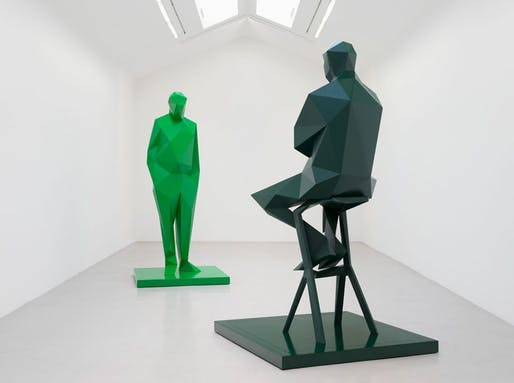 Sculptures of Renzo Piano and Richard Rogers in the recent Xavier Veilhan solo show 'Flying V' at Galerie Perrotin in Paris. Photo: Claire Dorn © Xavier Veilhan / ADAGP, Paris, 2017. Courtesy of Perrotin. Image via theartnewspaper.com.