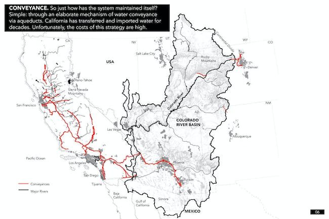 CONVEYANCE. So just how has the system maintained itself? Simple: through an elaborate mechanism of water conveyance via aqueducts. California has transferred and imported water for decades. Unfortunately, the costs of this strategy are high. Credit: the Continental Compact team.
