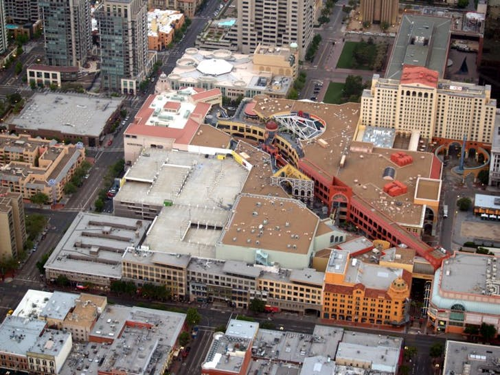 An aerial view of Horton Plaza, Image courtesy of Wikimedia user Phil Konstantin.