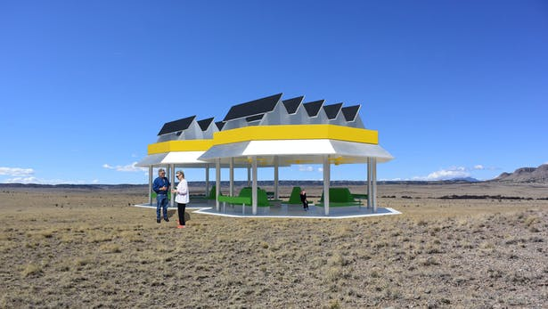 The Solar Breeze Oasis that makes electricity from the sun, stores it in batteries, and collects and stores rainwater for the local community. It also powers ceiling fans providing a cool gathering place for the local community.