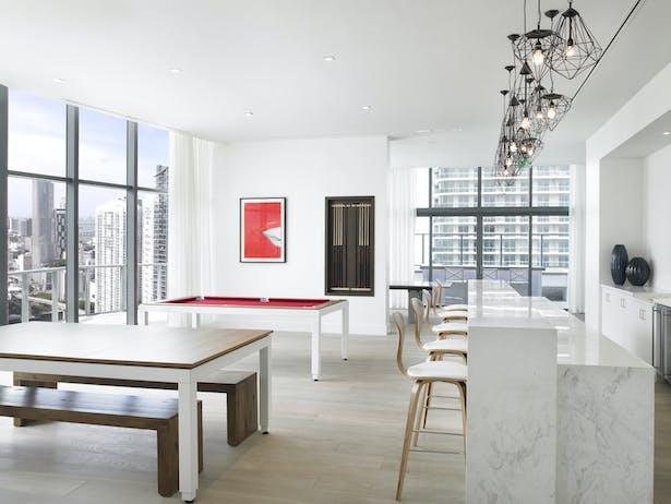 Billiard Lounge on the 50th Floor Amenity Deck