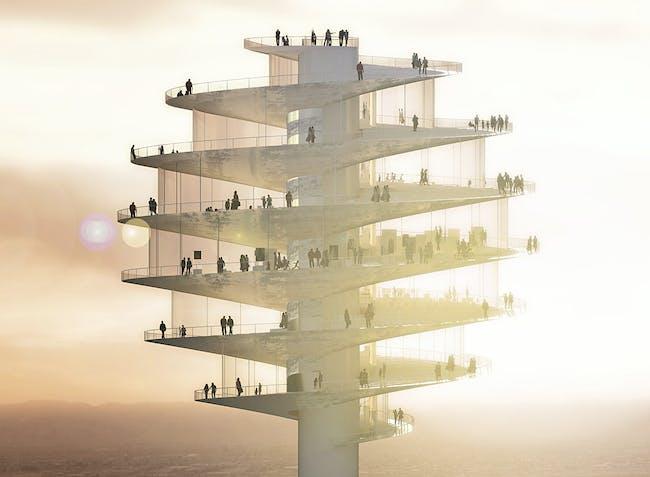 Exterior rendering of the tower's spiral-shaped observation platform (Image: BIG)