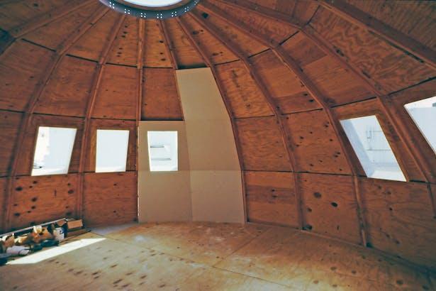 Interior under construction.