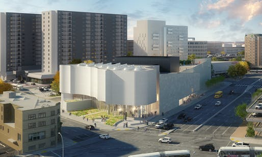 Rendering of the proposed Inuit Art Centre, designed by Michael Maltzan Architecture. Image courtesy of the Winnipeg Art Gallery.