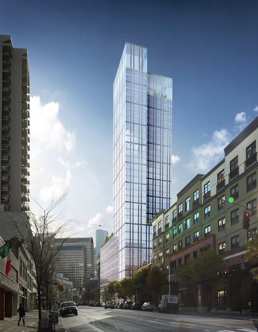Shown: A proposed 36-story tower in Seattle that originally had WeCompany signed on as its sole tenant. Image courtesy of Martin Selig Real Estate.