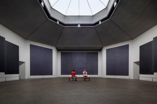 The renewal of the Rothko Chapel illuminates the interior under a new skylight. Photo © Elizabeth Felicella.