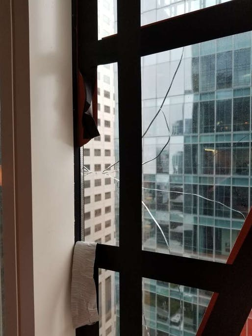 Window crack in the Millennium Tower, San Francisco. Image: San Francisco Department of Building Inspection.