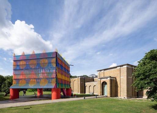 The 2019 Dulwich Picture Gallery summer pavilion The Colour Palace in London by Yinka Ilori and Pricegore. Photo: Adam Scott.