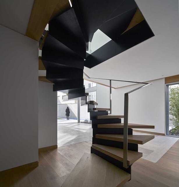 Stairs designed inside one of the houses Photographer: Alfonso Quiroga