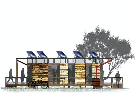 Revisited old school pavilion project for leisure. Added entourage, texture, and nature detail.