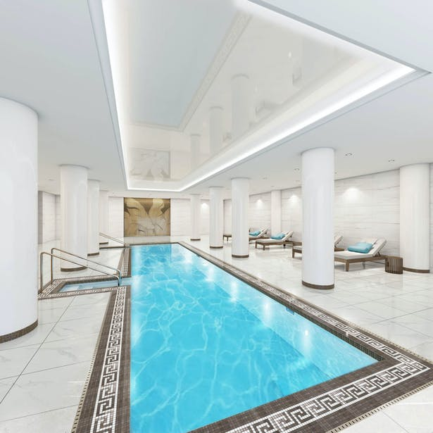 Rendering of the Pool and seating area