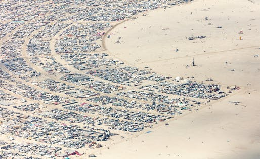 Aerial view of Burning Man's desert instant-city. Image courtesy of Flickr user Duncan Rawlinson.