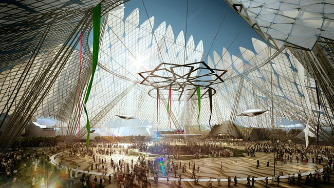 Three pavilions symbolizing opportunity, sustainability and mobility stem from this central gathering space named Al Wasl Plaza. Image: HOK