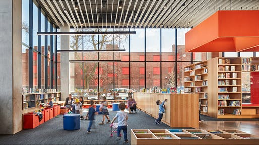 Taylor Street Apartments and Little Italy Branch Library in Chicago, IL by Skidmore, Owings & Merrill. Photo: Tom Harris.