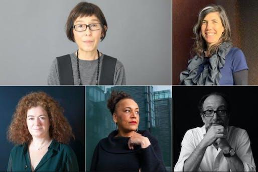 (Top row L-R) Kazuyo Sejima - President - Japan, Sandra Barclay - Peru (Bottom row L-R) Lamia Joreige - Lebanon, Lesley Lokko - Ghana-Scotland, and Luca Molinari - Italy